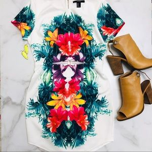 Forever 21 White Tropical Floral Cutout Dress M
